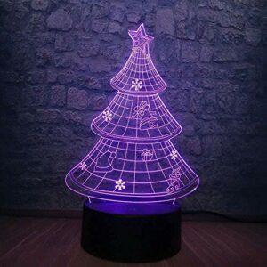 LSDAMN Creative USB 3D noël arbre de neige étoile lampe à LED 7 changement de couleur pour chambre Table sommeil veilleuse enfant nouvel an lampe décor à la maison