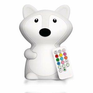 LumiPets Veilleuse LED en forme de renard pour chambre d'enfant en silicone avec capteur tactile – Portable et rechargeable pour bébé ou enfant changeant de couleur