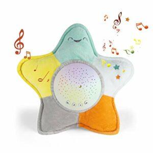 Machine à bruit blanc bébé,Étoile mer Sucettes jouet d'aide au sommeil pour bébéVeilleuse Sleep Aid pour tout-petit,10 berceuses apaisantes et projecteur.Peluche portable, jouet d'aide au