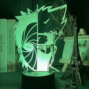 NARUTO Uchiha Obito Hatake Kakashi Anime 3D veilleuse avec télécommande 16 couleurs LED lampe de table tactile lumière cadeau de noël décoration de la chambre des enfants