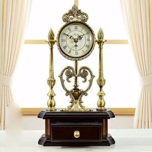 NIDAYE CNBBGJ Style Pastoral Continental King Size en Bois cuivre Antique réveil réveil en sourdine des Ornements Maison de Ville créative Table,b