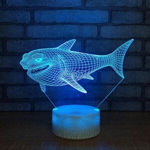 requin Lampe 3D Illusion Veilleuse,Optiques Illusions Lampe de Nuit 7 Couleurs Tactile Lampe de Chevet Chambre Table Art Déco Enfant Lumière de Nuit avec Câble USB,