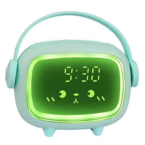 Réveil Enfants Numérique,Réveil Mignon 2 Alarmes Volume de la Musique Minuterie Multifonctionnelle Réglable Veilleuse Compte à rebours Répétition Commande Vocale Horloge Rechargeable