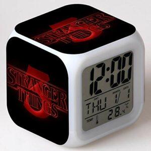 Réveil numérique à LED, cadeaux de Noël pour enfants, réveil jouet pour enfants, réveil de bande dessinée veilleuse colorée colorée rougeoyante