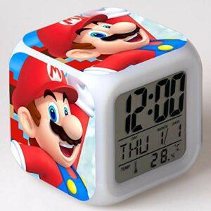 Réveil numérique à LED, veilleuse colorée, horloge de bureau multifonctionnelle, cadeaux de jouets de Noël pour enfants