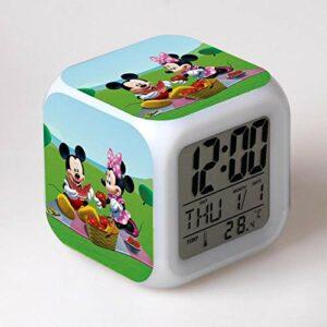 Réveil numérique pour enfants Dessin animé mignon 2 Réveil, réveil numérique, horloge de table de veilleuse mignonne, cadeau de Noël d'alarme de chambre/sommeil