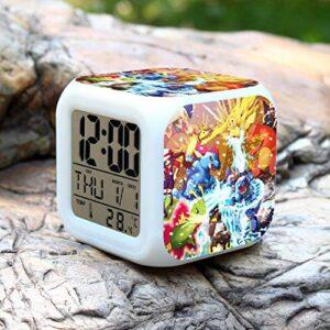 Réveil numérique pour enfants Elfes magiques ramassage anime 8 Réveil, réveil numérique, horloge de table de veilleuse mignonne, cadeau de Noël d'alarme de chambre/sommeil