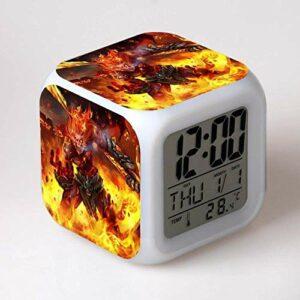 Réveil numérique pour enfants Héros du jeu 2 Réveil, réveil numérique, horloge de table de veilleuse mignonne, cadeau de Noël d'alarme de chambre/sommeil