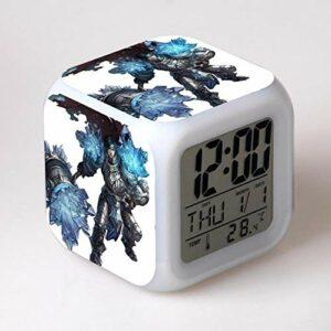 Réveil numérique pour enfants Héros du jeu 7 Réveil, réveil numérique, horloge de table de veilleuse mignonne, cadeau de Noël d'alarme de chambre/sommeil