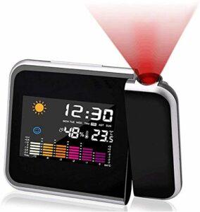 Réveil projecteur, Réveil numérique de chevet Réveil de mode, Réveil numérique LED avec station horaire/Affichage LCD/Température et date /Charge USB/12&24h/Noir