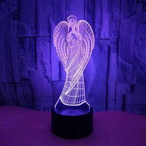SHDEKW Lampe De Nuit 3D Jésus Ange Vierge Led Lampe Illusion Optique Veilleuse 16 Couleurs Changeantes Avec Télécommande, Lampe De Bureau Créative Pour Enfants D'Anniversaire De Noël Cadeau