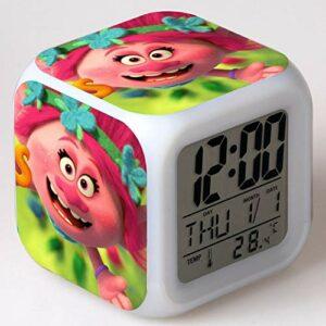 shiyueNB Réveil de Film reloj Dessin animé Couleur Changeante veilleuse LED Horloge numérique Horloge de Bureau électronique Deepblue