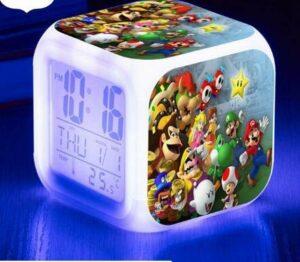 shiyueNB Réveil LED 7 Couleurs Montre Changement Horloge numérique Flash Bureau électronique reloj despertador Cadeau Violet