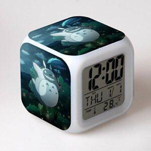 shiyueNB réveil pour Enfants, Animation Japonaise, Dessin animé, Montre Leader numérique, Horloge de Bureau, Lampe Couleur, Horloge de Table à l'ancienne, Jouet pour Enfants DarkKhaki