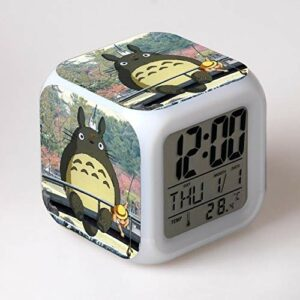shiyueNB réveil pour Enfants, Animation Japonaise, Dessin animé, Montre Leader numérique, Horloge de Bureau, Lampe de Couleur, Horloge de Table à l'ancienne, Jouet pour Enfants SkyBlue