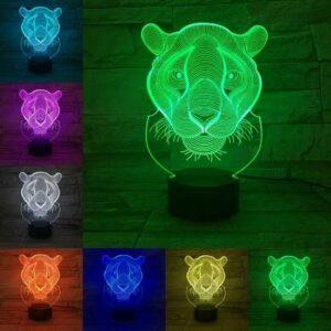 Tête de léopard créative petite lampe de Table cadeau pour enfants LED acrylique 3D lumière visuelle créative veilleuse chambre décoration lampe de Table
