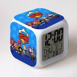 TYWFIOAV Réveil à LED changeant de couleurs avec motif dessin animé mignon pour étudiants.