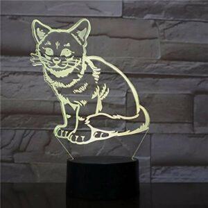 Veilleuse 3D conception de forme de chat mignon 3D veilleuse LED décoration de chambre multicolore lumière 3D lampes de décoration de Noël