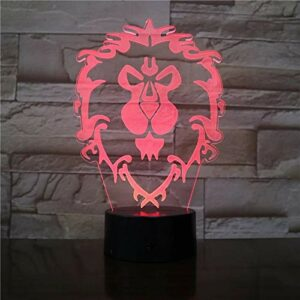 Veilleuse 3D forme de tête de lion 3D lumière LED veilleuse USB interface lampe veilleuse