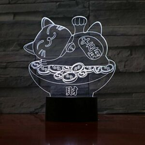 Veilleuse 3D intéressante forme de chat fortune 3D LED veilleuse USB lampe aide au sommeil veilleuse chambre décoration