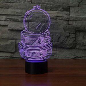 Veilleuse 3D tambour à main veilleuse 3D veilleuse LED veilleuse USB tactile lampe de table multicolore USB veilleuse chambre d'enfants décoration