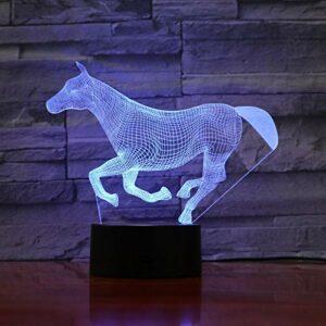 Veilleuse Cheval Animal 3D Pour Enfants, Lampe Illusion Optique Led Lampe De Table Usb, 16 Couleurs Changeantes Avec Télécommande Pour Enfants Cadeau D'Anniversaire Et De Noël