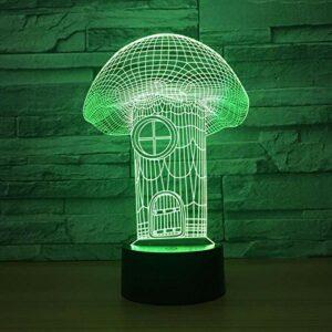 Veilleuse Maison Aux Champignons 3D Pour Enfants, Lampe Illusion Optique Led Lampe De Table Usb, 16 Couleurs Changeantes Avec Télécommande Pour Enfants Cadeau D'Anniversaire Et De Noël