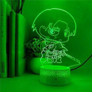 3D Illusion Lampe LED veilleuse contrôle Intelligent Anime Q.Ver Attaque sur Titan Eren Jaeger pour Enfant Cadeau d'anniversaire fête décoration Lampe de Table 16 Couleurs