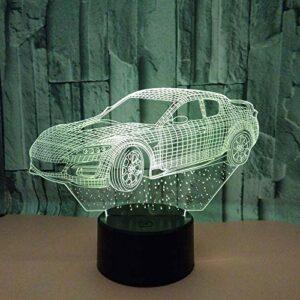 3D Illusion veilleuse 7 couleurs LED Vision voiture sept S enfants belle chambre bébé sommeil coloré cadeau créatif télécommande