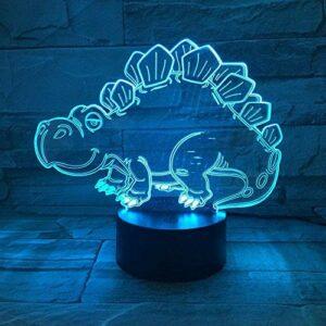 3D illusion veilleuse dinosaure 7 couleurs tactile lumière maison chambre bureau décoration pour enfants cadeaux d'anniversaire