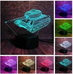 3D illusion veilleuse enfants humeur lumière 7 couleurs télécommande et touche tactile lumière de cadeau de vacances – réservoir militaire