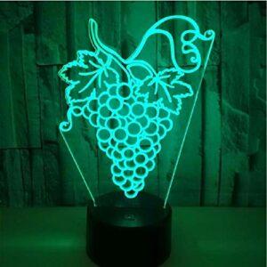 7 couleurs changeantes de raisins lampe d'illusion 3D USB télécommande tactile veilleuses pour lampes de décoration de chambre à coucher