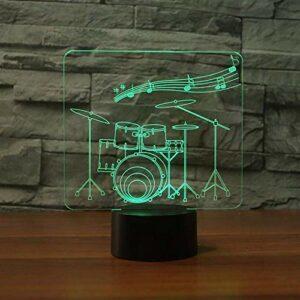 7 couleurs veilleuse tactile 3D Art tambour Led musique atmosphère lampe de Table USB chambre décor éclairage enfants cadeau