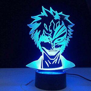 A-Generic Anime Bleach 3D Masque Visage Lampe De Table Veilleuse Kurosaki Ichigo Chambre Décor Lampe De Table De Noël Enfants Cadeau De Noël Enfants Gifttudy Chambre Décor Lumière 16 Couleurs