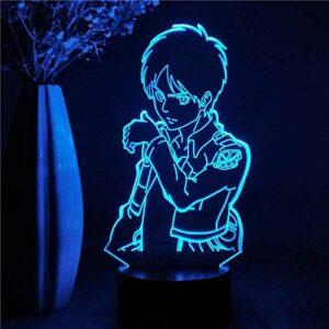 A-Generic Lampe Anime 3D Attaque sur Titan veilleuse pour Enfants Cadeau pour la Maison Chambre Eren Jager décoration LED veilleuse Figure Manga Figure Lampe de Table avec télécommande-Télécommande.