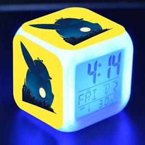 alicefen Réveil lumières USB Anime Pikachu LED réveils 7 Couleurs Changement d'humeur Lampe réveil numérique Enfants Chambre veilleuse Horloge 20