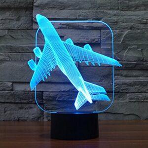 Avion 3D Lumière de Table Lampe d'Illusion Optique Bulbing Veilleuse Lumière de Nuit 7 Couleurs Changement d'humeur Lampe