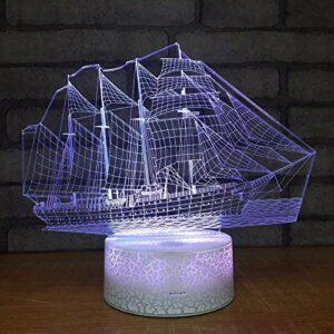 Bateau créatif Led 3D petites veilleuses nouvelle bande étrange personnalité décorative 3D luminaires USB Led enfants lampe