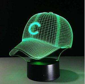 Casquette d'équipe de Baseball Hip Hop 3D LED Illusion 3D veilleuse 7 couleurs USB5V / batterie chapeau de Baseball américain décor ampoule lampe visuelle