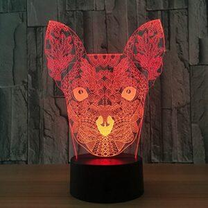 Chat 3D veilleuse 7 couleurs clignotant LED lampe de Table USB Ssensor lumière pour chambre Art décoration et cadeau