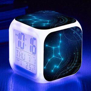 Constellation Led réveil 7 couleurs lumineux numérique réveil chambre d'enfants chevet réveil lumière multi-fonction affichage horloge vierge