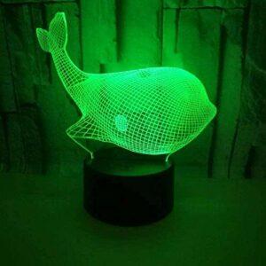 Creative baleine 3D veilleuse enfants humeur lumière lampe de chevet couleur changeante télécommande cadeau de vacances lumière