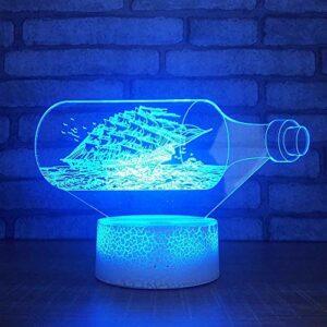 Creative Dérive bouteille veilleuse lumière LED base fissurée multicolore vision 3D lumière acrylique multicolore veilleuse
