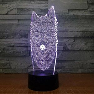 Creative loup 3D veilleuse enfants humeur lampe lampe de chevet coloré changement de couleur télécommande vacances cadeau lampe