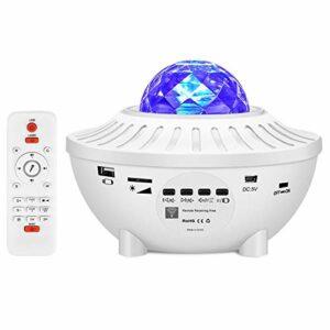 CUzzhtzy Projecteur LED Night Light, projection dynamique de 21 couleurs, avec haut-parleur Bluetooth et minuterie, lecteur de musique, télécommande étoile en rotation de la lumière de nuit, lumière d
