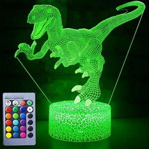 eTongtop Veilleuse 3D en forme de dinosaure 7 couleurs changeantes avec télécommande pour décoration de chambre d'enfant ou cadeau parfait pour les enfants (Dinosaure)