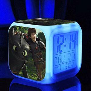 FDGFDG Cube réveil Animation Formation Dragon veilleuse Petit réveil lumière LED numérique Petit réveil Multifonction capteur Tactile Horloge LED réveil Cadeau de Vacances