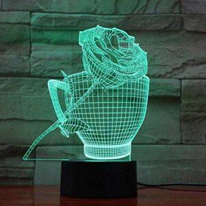 giyiohok Lampe Illusion 3D LED veilleuse romantique fille fleur coeur Rose amour Expression Couple petite amie cadeau d'anniversaire USB charge lampe de bureau