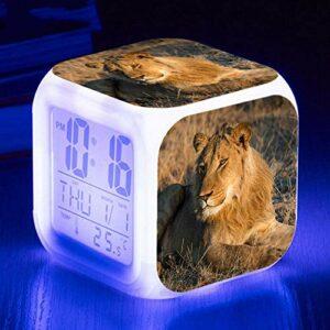HHCYY Lion Réveil Enfant Garçon Réveil Numérique Pour Les Filles Wake Up Light Horloge De Chevet Avec La Veilleuse Led Horloge À Changement De Couleur Cadeaux D'Anniversaire (K244)
