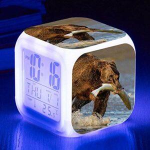 HHCYY Ours Réveil Enfant Garçon Réveil Numérique Pour Les Filles Wake Up Light Horloge De Chevet Avec La Veilleuse Led Horloge À Changement De Couleur Cadeaux D'Anniversaire (K175)